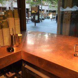 Copper commercial cafe benchtop - Circular Quay Sydney