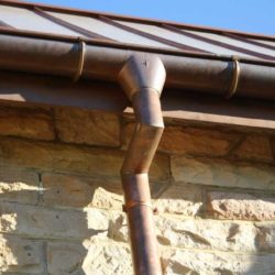 Copper gutter and downpipe