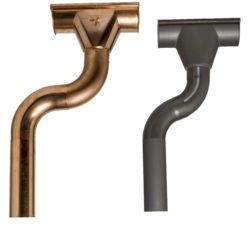 Copper and zinc rainwater heads and downpipes